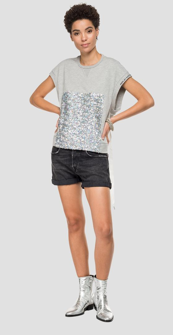 Sleeveless sweatshirt with sequins w3223 .000.22390p