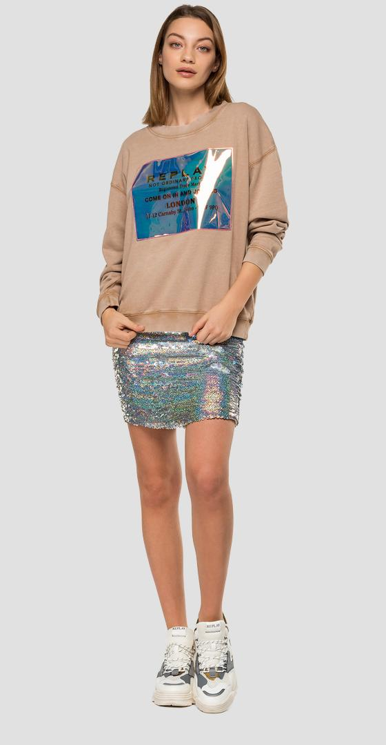 Sweatshirt with hologram print w3269b.000.22738m