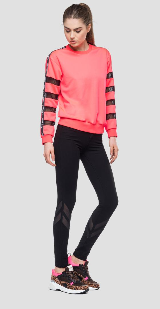 Sweatshirt with transparent stripes w3274 .000.22610
