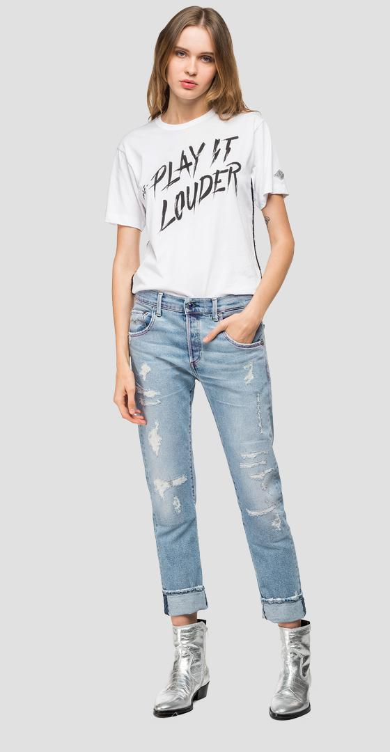 RE-PLAY IT LOUDER fringed t-shirt w3308 .000.22536p