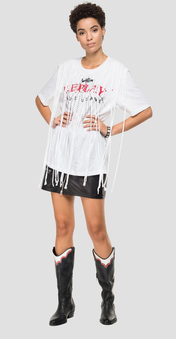 T-shirt with maxi fringes and rhinestones w3317 .000.22676p