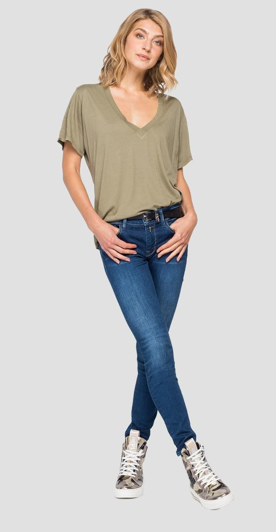 T-shirt in solid-coloured stretch jersey w3505 .000.22834g