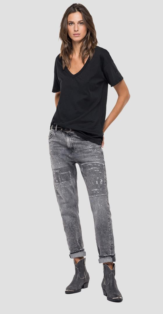 V-neck t-shirt with print w3513 .000.22536g