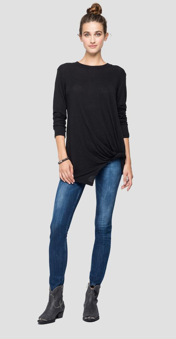Long-sleeved linen t-shirt w3537 .000.23057