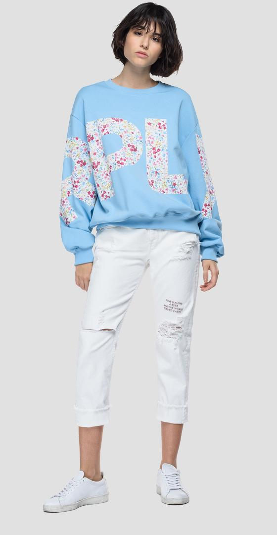 Oversized sweatshirt with REPLAY floral print w3581b.000.23158p