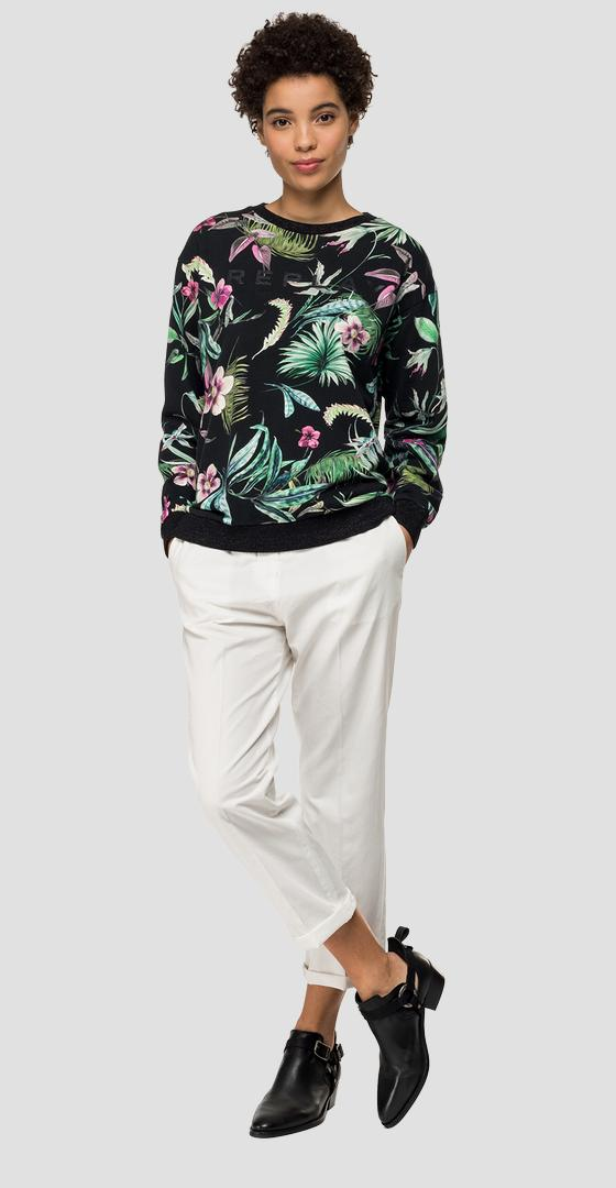 Crewneck sweatshirt with floral print w3871 .000.72052