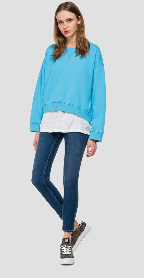 Crewneck sweatshirt with asymmetric hem w3877 .000.22890p