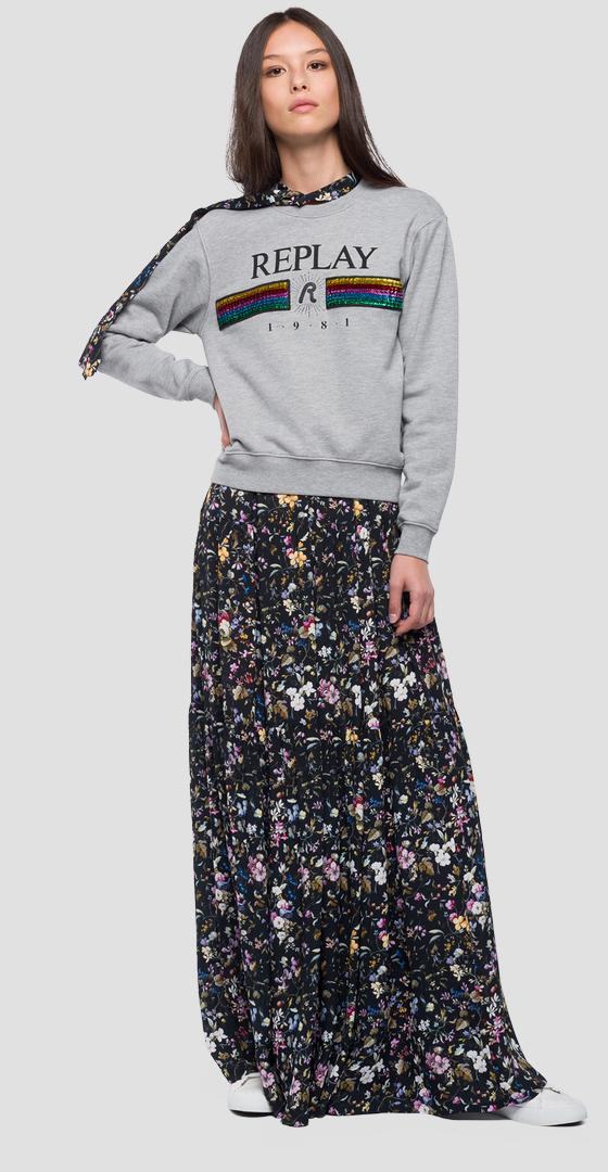 Rainbow logo sweatshirt with sequins w3971f.000.21842