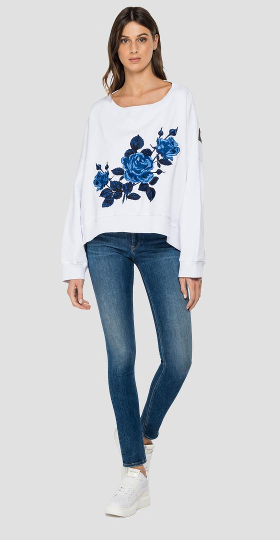 Oversized sweatshirt with ROSE LABEL embroidery w3992c.000.22890p