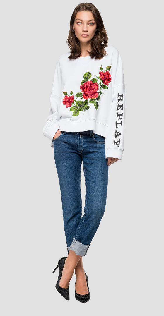 Replay crewneck sweatshirt with roses w3992 .000.22890p