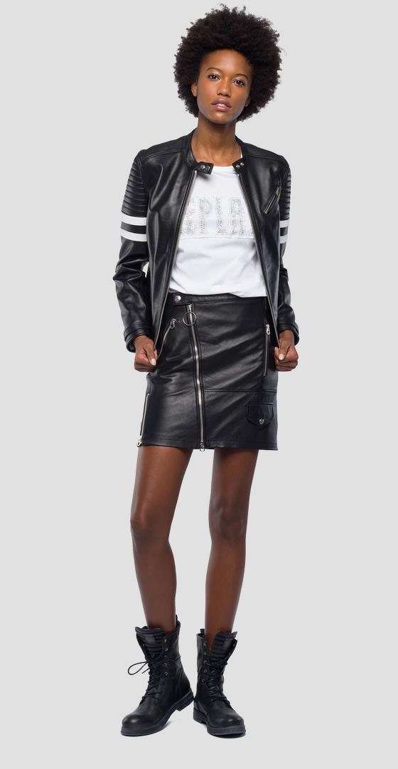 Biker jacket with contrasting stripes w7519 .000.83254
