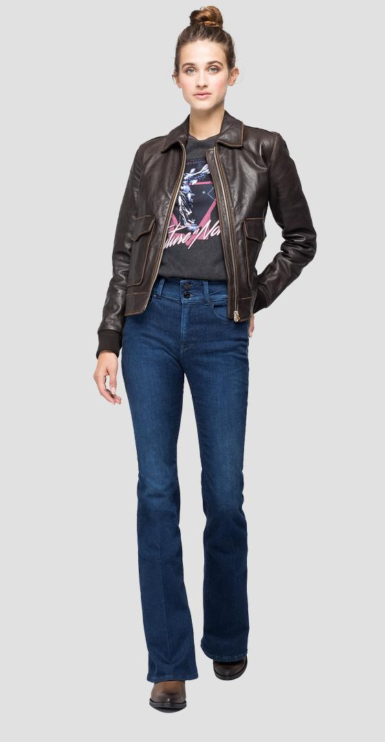 Leather jacket with pockets w7587 .000.83984