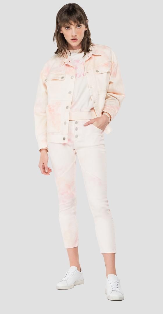 Denim jacket with all-over tie-dye pattern w7677 .000.73407