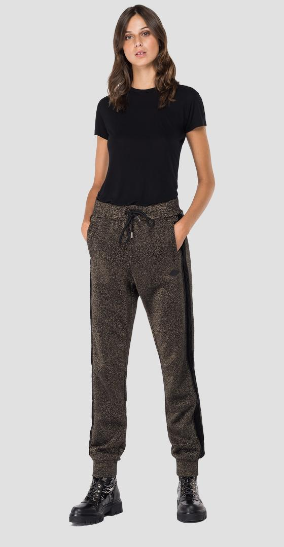 Cotton trousers with lurex w8530a.000.22672