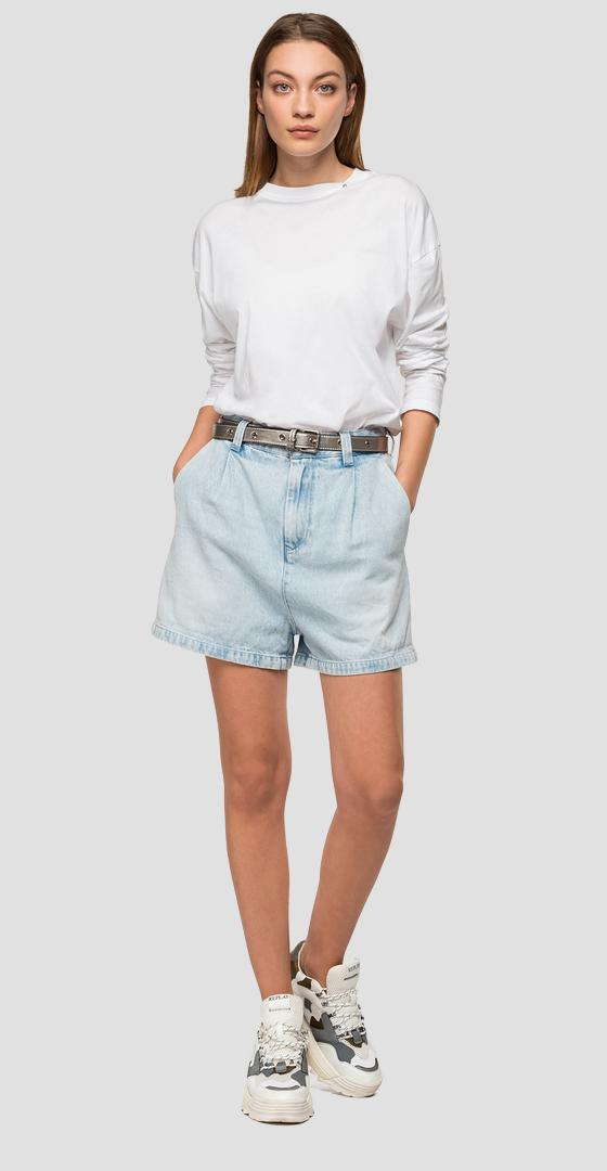 Shorts en denim Rose Label claro desteñido w8893a.000.108 665