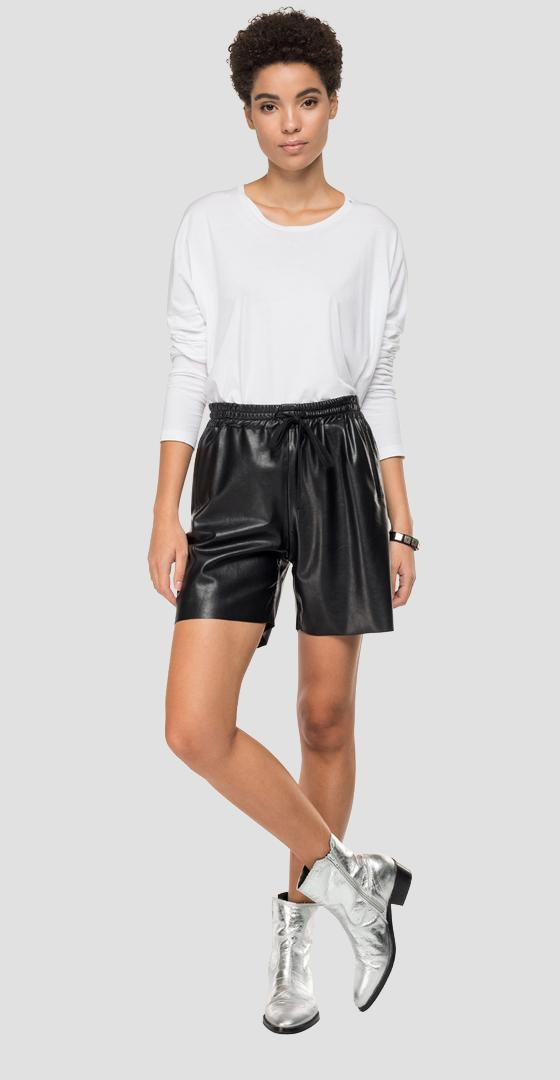 Eco-leather short pants with drawstring w8894 .000.80869