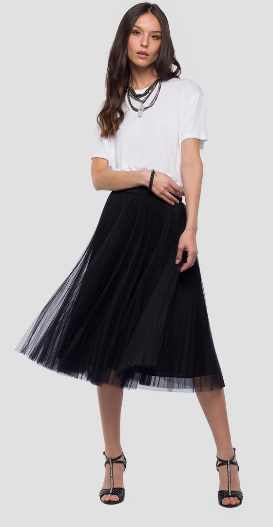 Midi skirt in pleated tulle w9229 .000.80859