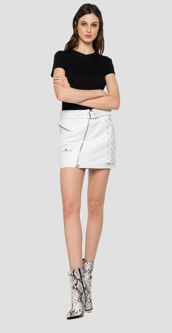Leather mini skirt with belt w9279 .000.83706b