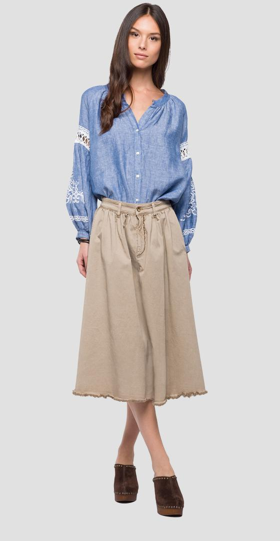 Gathered high waist skirt w9285 .000.8085590