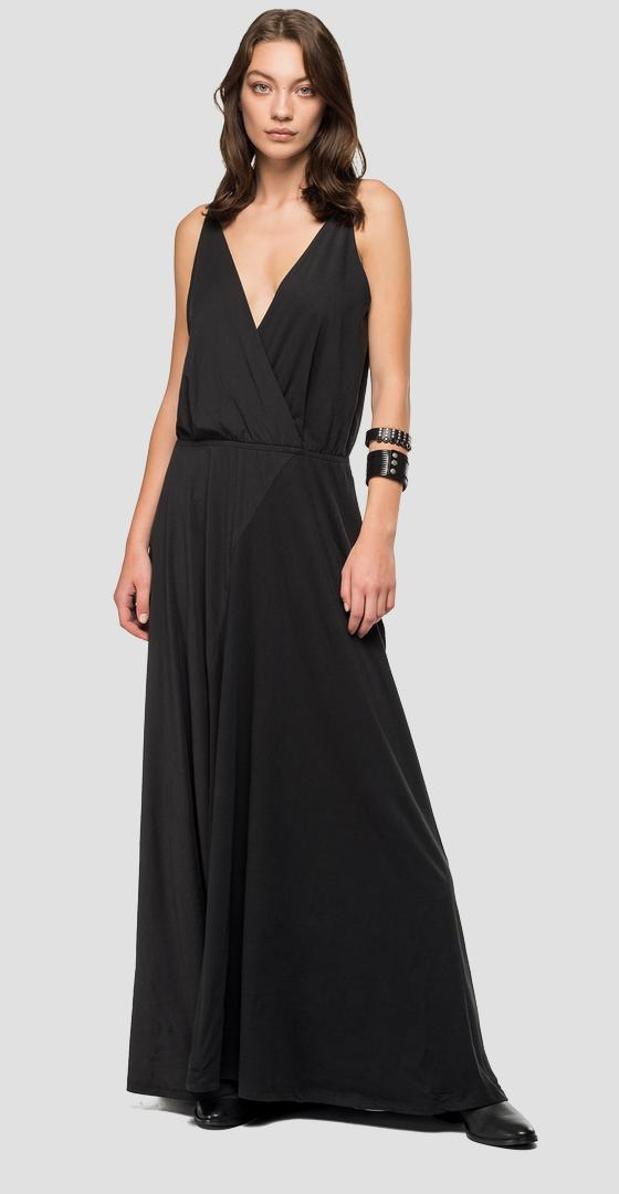 Long dress with V-neck w9475 .000.22536p