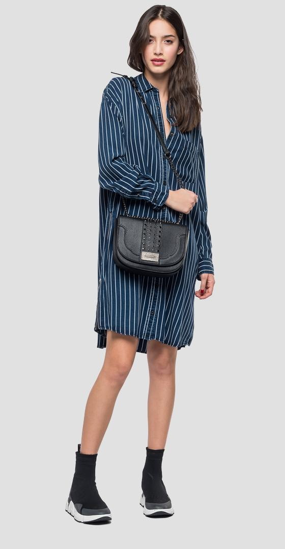 Striped denim dress w9511 .000.52146