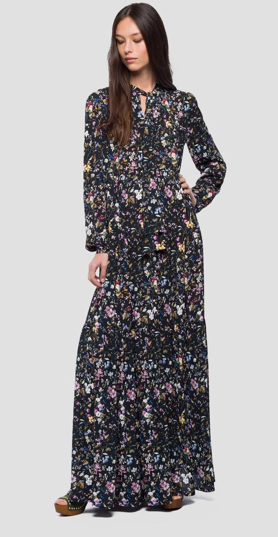 Maxi dress with  floral print w9524 .000.71722