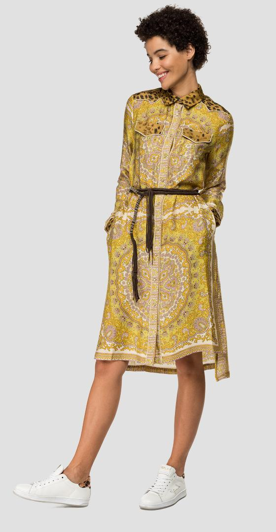 Paisley print dress with collar w9558d.000.10259