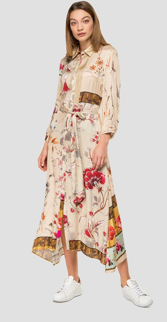 Shirt dress with floral belt w9561 .000.71956
