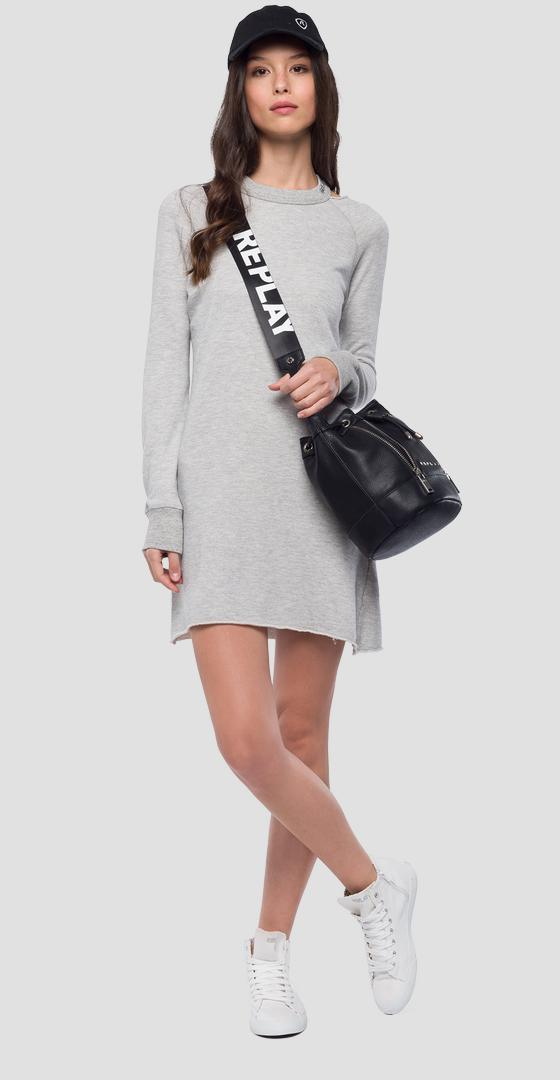 Crewneck dress in melange cotton w9583 .000.22670