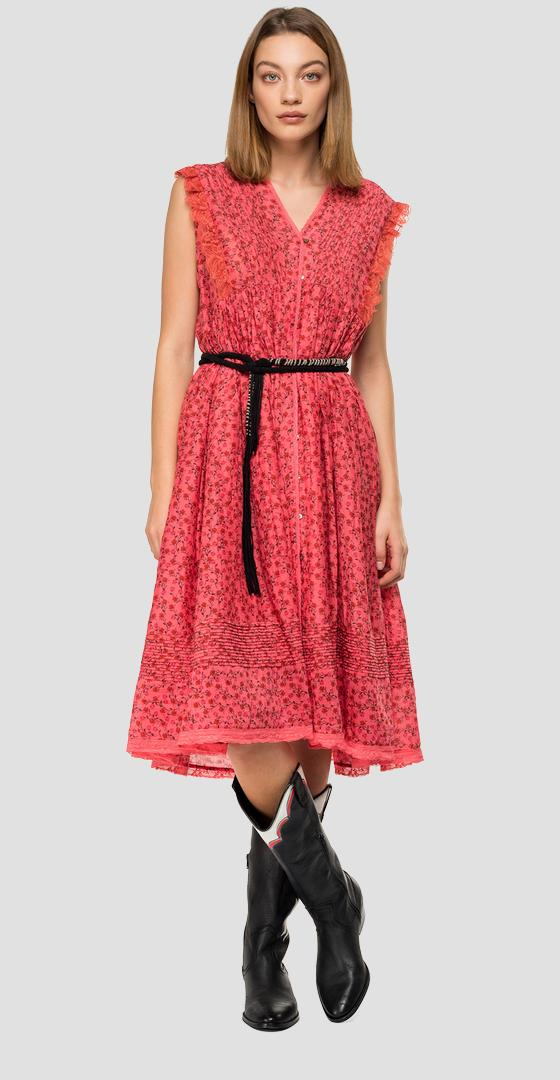 Dress with floral ruffles w9600 .000.71952