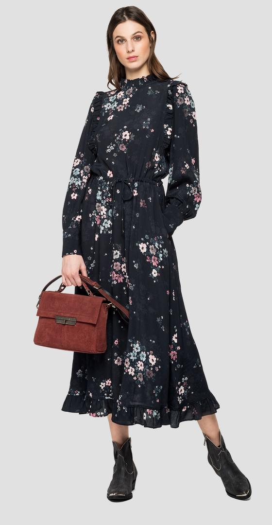 Long dress with all-over floral print w9619 .000.72164
