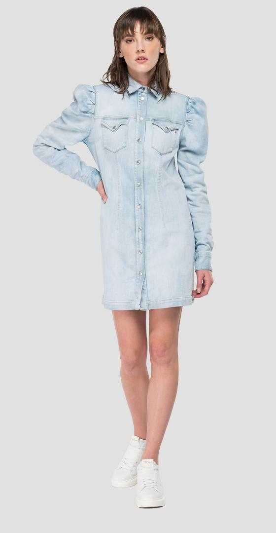 Denim dress with balloon sleeves w9639 .000.455 859