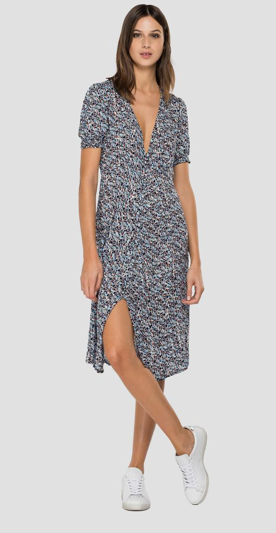 Midi dress with all-over boho print w9678a.000.73382