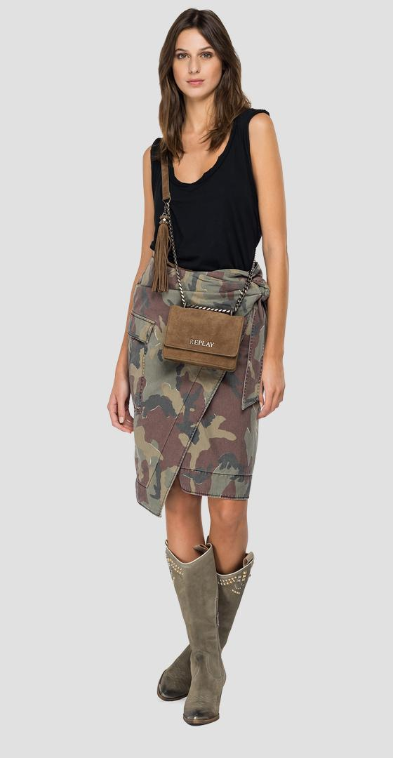 Camouflage midi skirt in cotton w9836a.000.73354