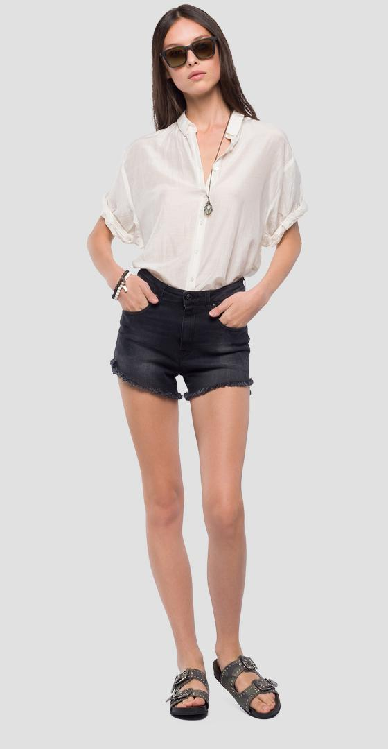 High-waisted denim shorts wa406 .000.103 415