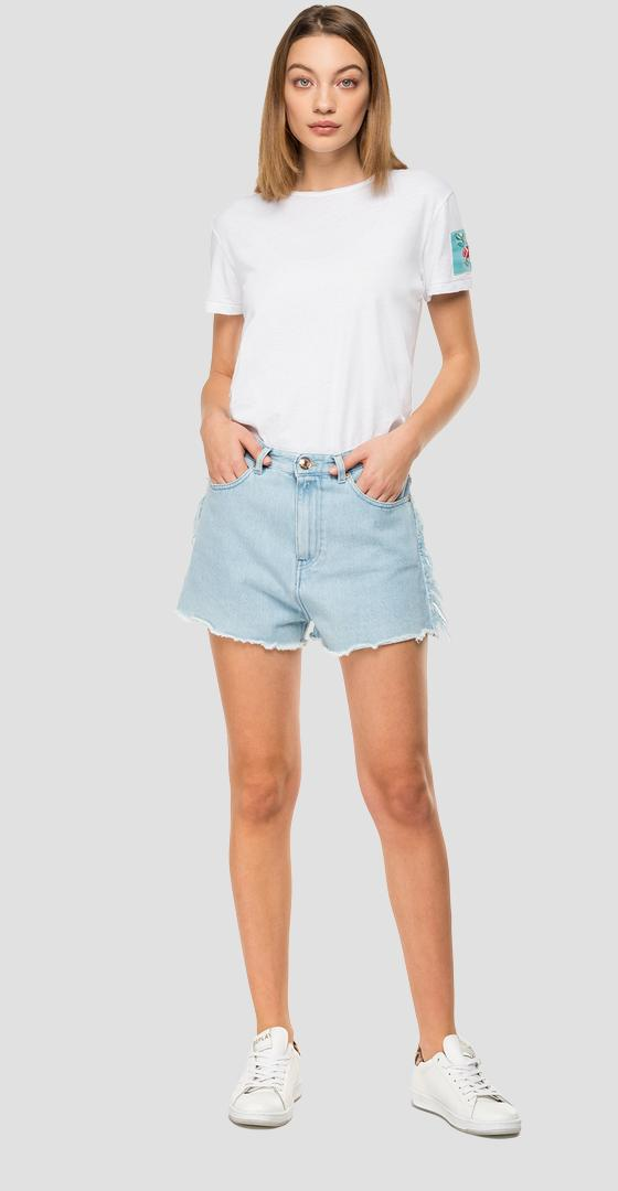 High-waisted denim short pants wa418f.000.108 669