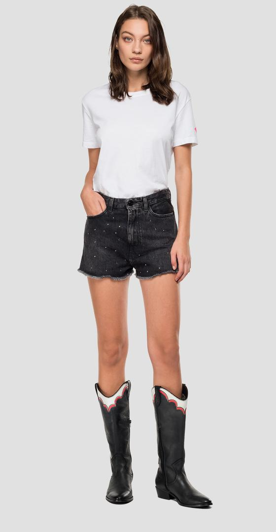 Denim short pants with studs wa418s.000.142 655