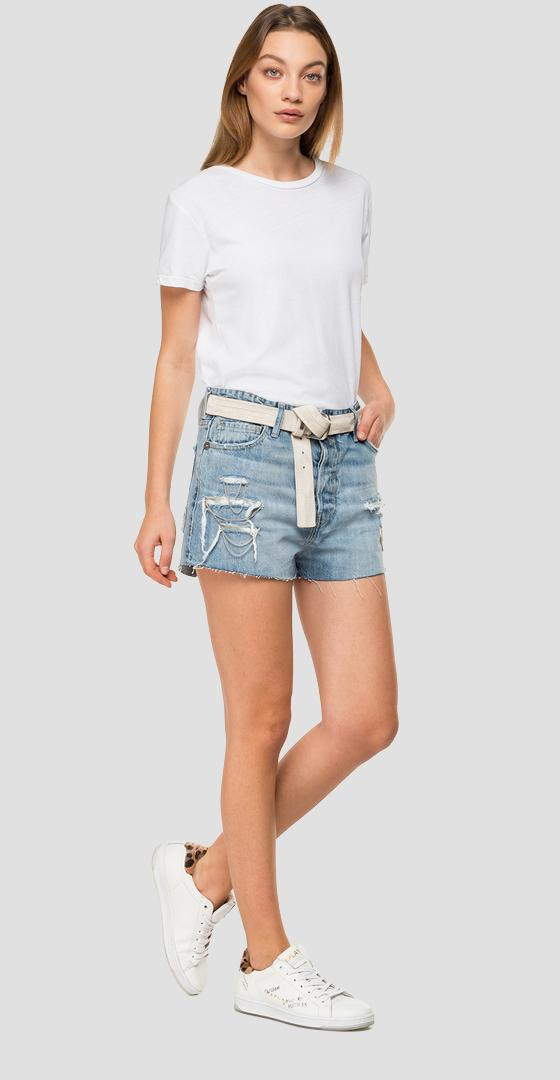 Denim shorts pants with chains wa425c.000.50c 680