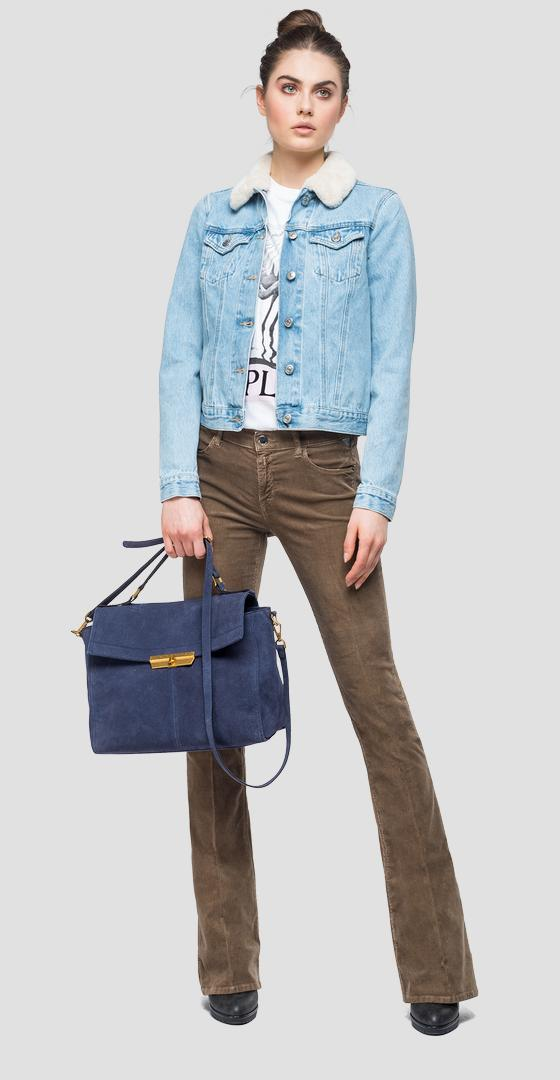 Giubbotto in denim ed eco-montone wa7651.000.108p588
