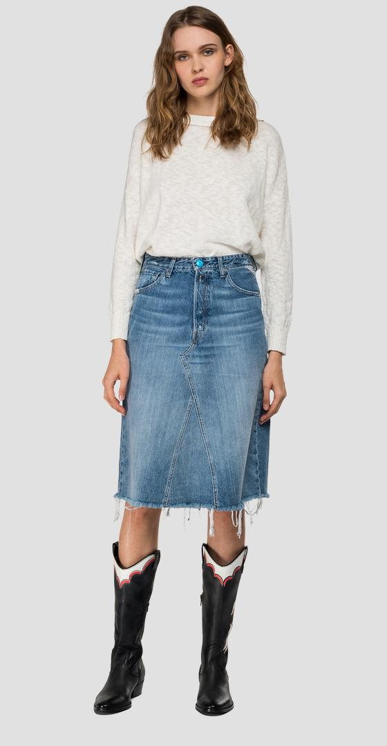 Denim midi skirt with rhinestones wa9158.000.50cr679