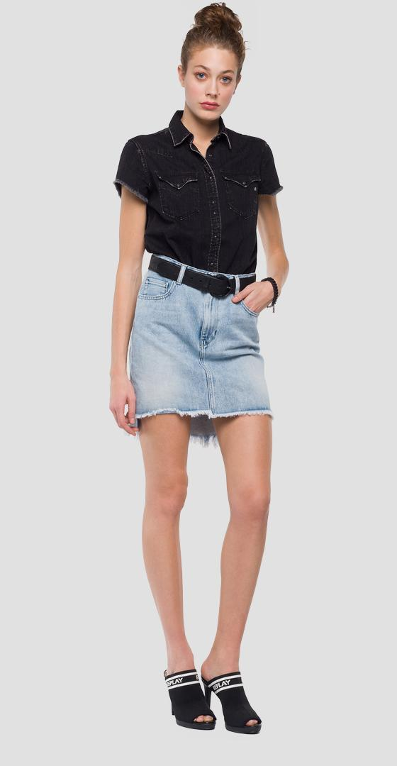 Raw cut denim mini skirt wa9234.000.100 479