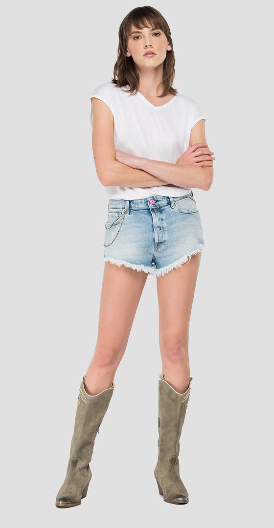 ROSE LABEL fringed denim shorts wb425r.000.207 81d