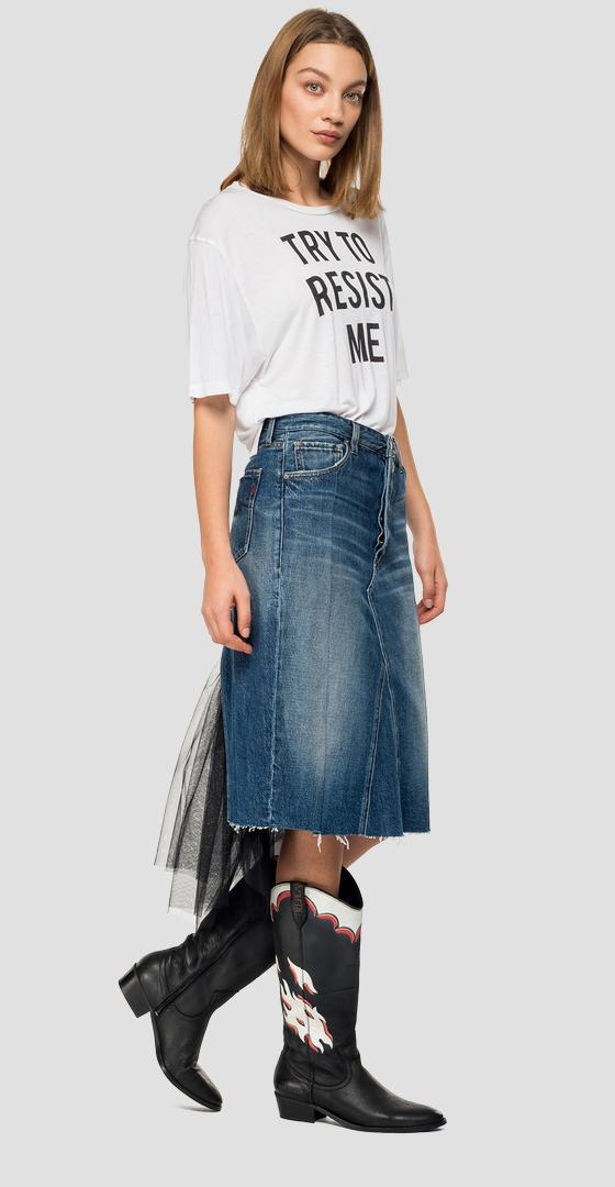 Midi skirt in denim and tulle wb9158.000.170 614
