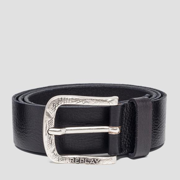 Leather belt with engraved buckle - Replay AM2553_000_A3003E_299_1