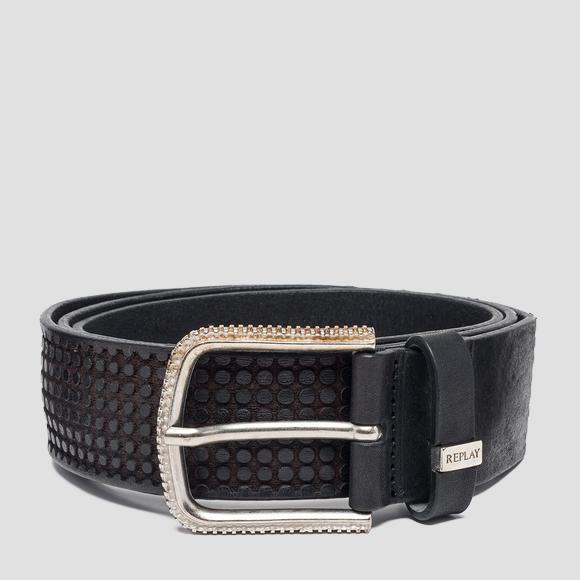 Leather belt with circles - Replay AM2560_000_A3077_098_1