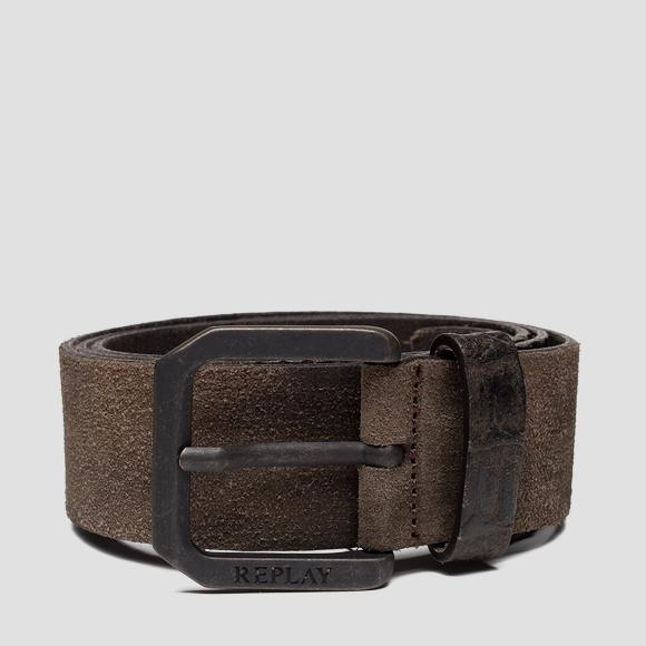 Leather belt with suede effect AM2598_000_A3024C_122_1