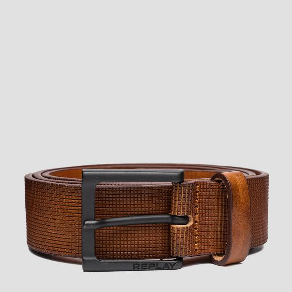 Leather belt with heat embossing - Replay AM2618_000_A3007_090_1