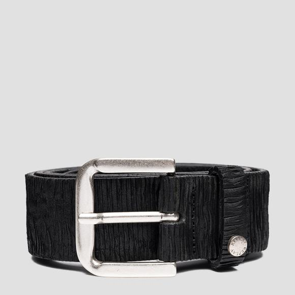 Leather belt with carving effect - Replay AM2624_000_A3114_098_1