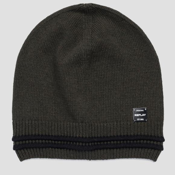 Beanie with striped edge REPLAY - Replay AM4238_000_A7059_057_1