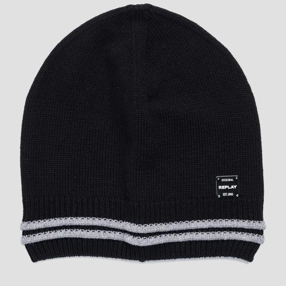 Beanie with striped edge REPLAY - Replay AM4238_000_A7059_098_1